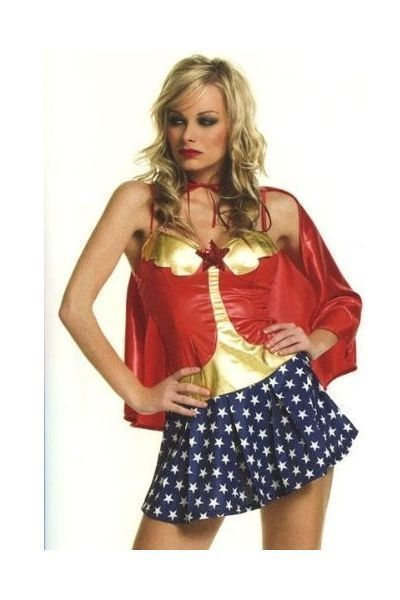 American Babe Hero Girl Fancy Dress Costume (UK 14 - 16)