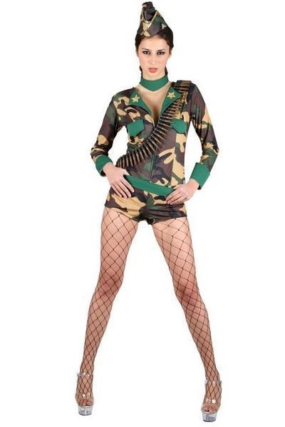 Army Combat Cutie Fancy Dress Costume (UK 10 - 12)