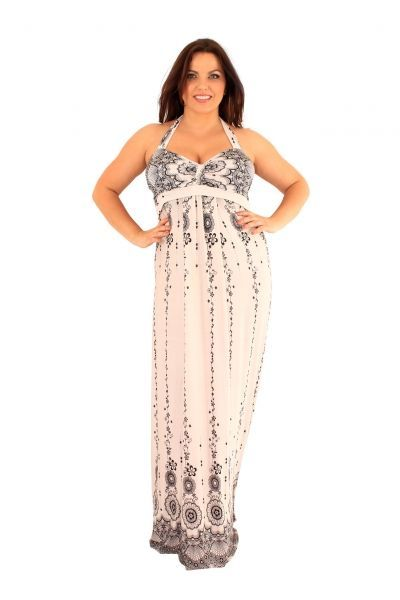 Ashanti Lace Border Halter Maxi Dress (UK 24)