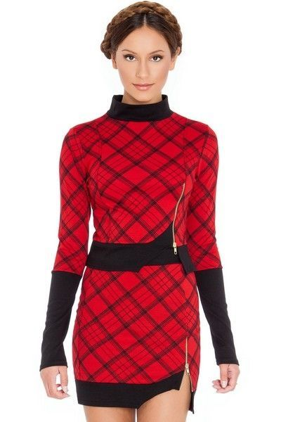 Asymmetric Hem Red Tartan Print Mini Skirt (UK 14)