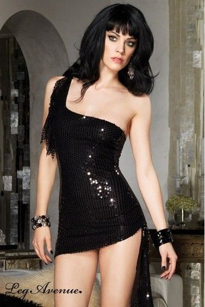 Asymmetrical Sequin Clubwear Mini Dress (UK 12)