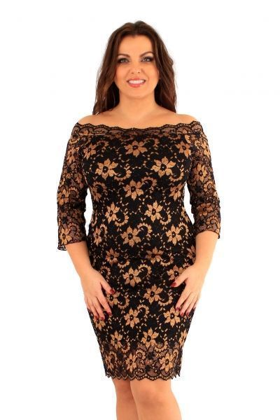 Bardot Gold Lace Midi Dress (UK 16 / 18)
