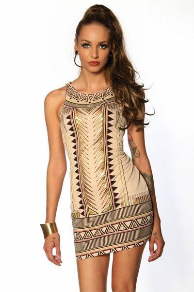 Beige Aztec Print Sleeveless Mini Dress (UK 8)