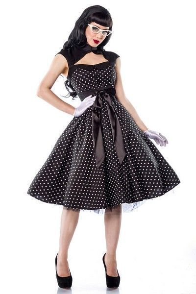 Black 50's Style Polka Dot Evening Dress (UK 8)