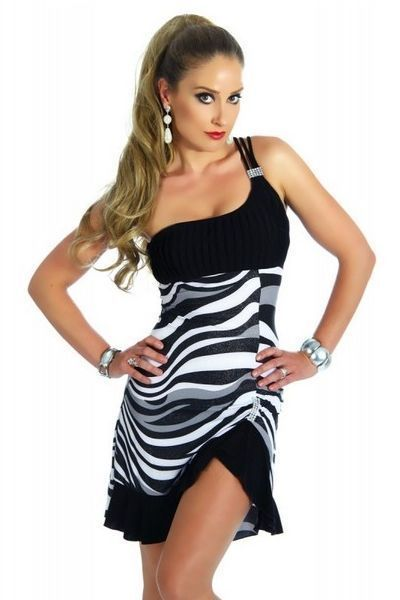 Black and White Zebra Print Clubwear Mini Dress (UK 8 / 10)