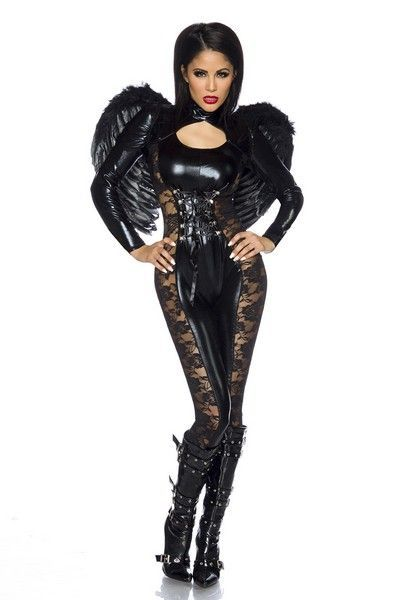 Black Angel Halloween Fancy Dress Costume (UK 6 - 10)