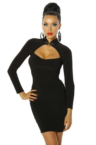 Black Asian Style Long Sleeve Mini Dress (UK 14)