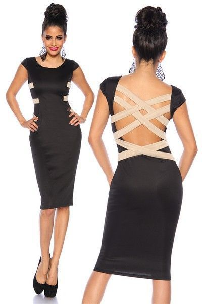 Black Cocktail Dress with Criss Cross Back (UK 12)