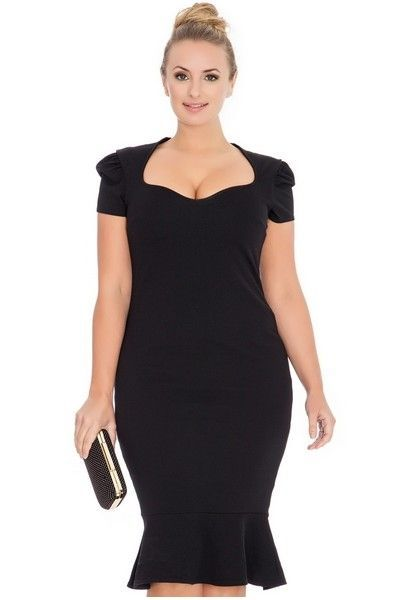 Black Knee Length Midi Dress (UK 20 / 22)