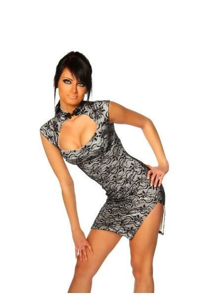 Black Lace Asian Style Clubwear Mini Dress (UK 8 / 10)