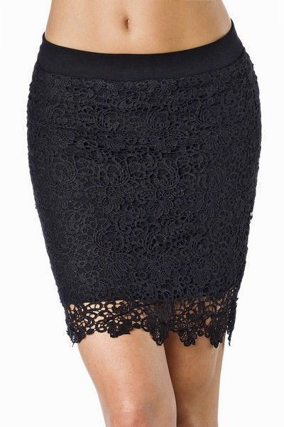 Black Lace Mini Skirt with Elasticated Waist (UK 8)