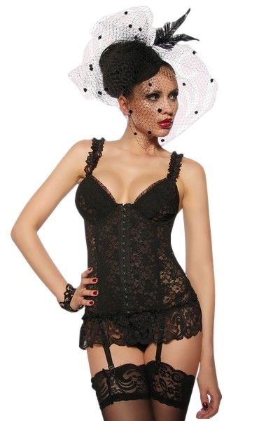 Black Lace Ruffle Bustier and String Set (UK 10 / 12)