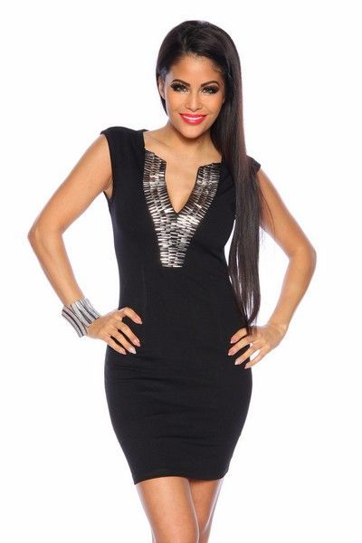Black Mini Dress with Silver Detailing (UK 8)