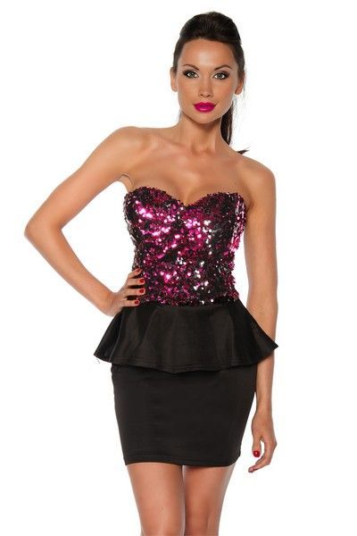 Black Peplum Mini Dress with Pink Sequins (UK 12)
