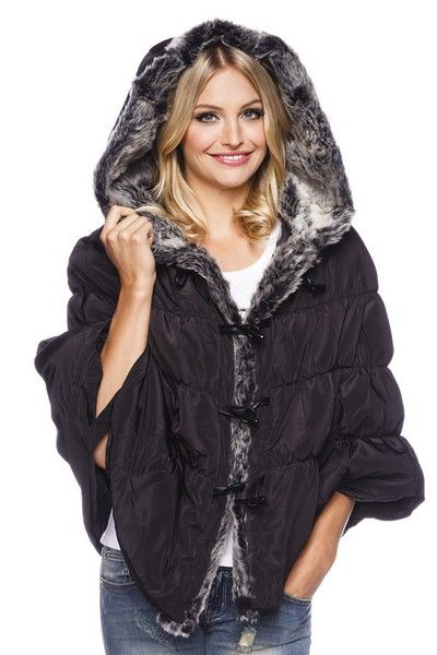 Black Quilted Poncho with Faux Fur Lining (UK 10)