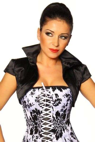 Black Satin Bolero Jacket (UK 10)
