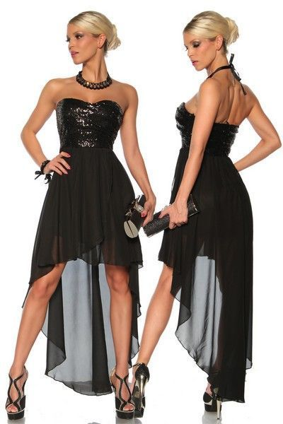 Black Sleeveless Long Dress with Sequin Bust (UK 8 / 10)