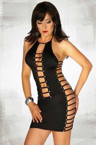 Black Strappy Clubwear Mini Dress (UK 6 - 10)