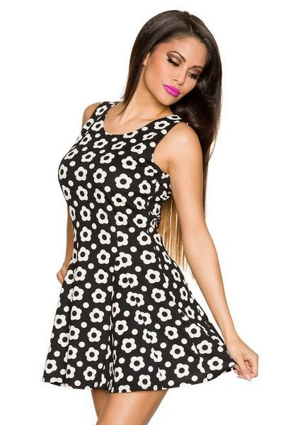 Black Summer Dress with Cream Flower Print (UK 12 / 14)