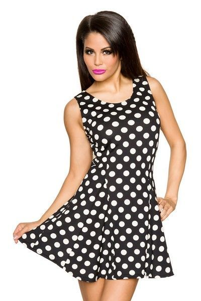 Black Summer Dress with Cream Polka Dots (UK 12 / 14)