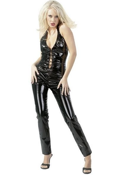 Black Vinyl Lace Up Clubwear Catsuit (UK 18)