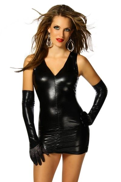 Black Wetlook Clubwear Mini Dress (UK 10 / 12)