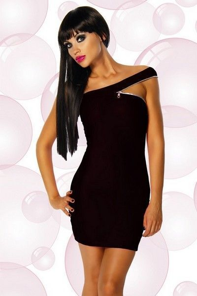 Black Wetlook Clubwear Mini Dress with Zip (UK 8 - 10)