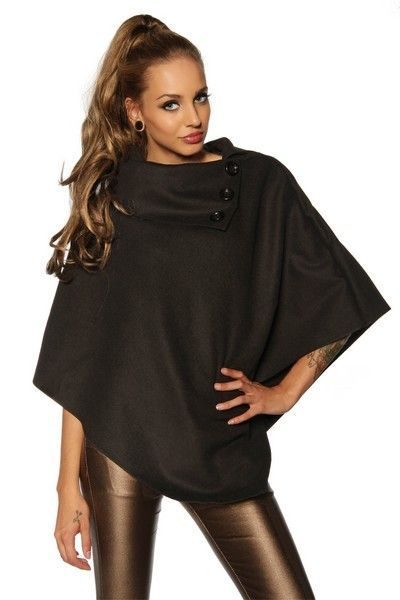 Black Winter Poncho with Wide Collar (UK 8 - 12)