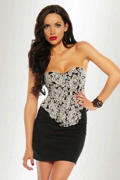Black with White Lace Clubwear Mini Dress (UK 12)