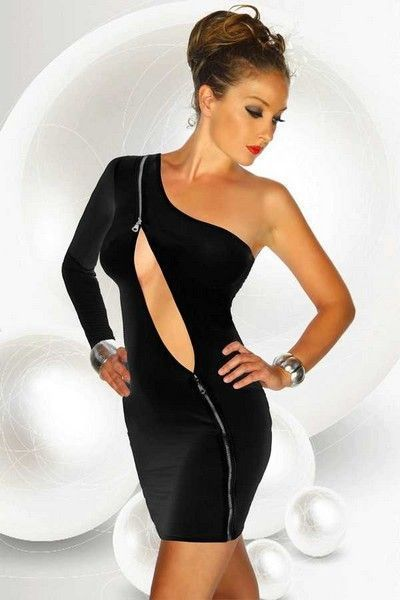 Black Zipper Clubwear Mini Dress (UK 8 - 12)