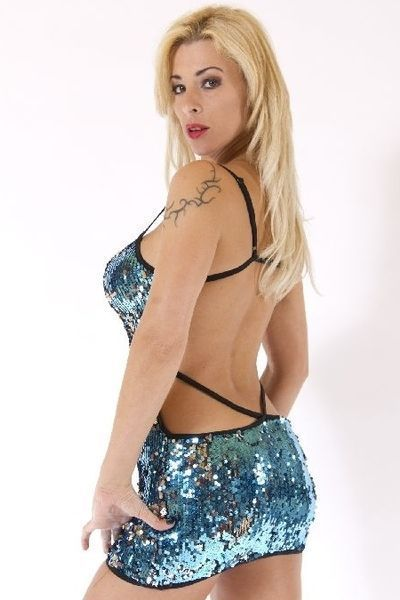 Blue and Silver Backless Sequin Clubwear Dress (UK 8 - 12)