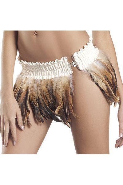 Brown and White Feather Clubwear Mini Skirt (UK 8 - 10)