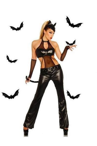 Cat Girl Wet Look Halloween Fancy Dress Costume (UK 8 - 10)