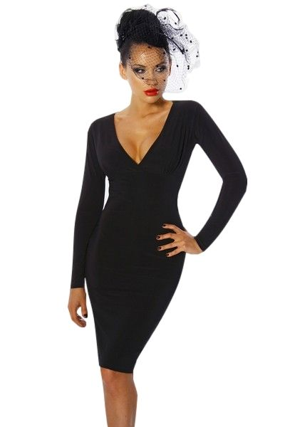 Classic Black Long Sleeve Clubwear Mini Dress (UK 14)