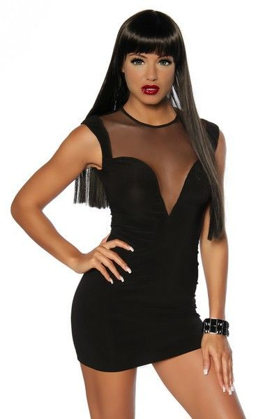 Classic Black Mesh Clubwear Mini Dress (UK 10)