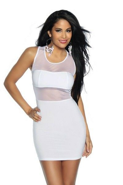 Classic White Clubwear Mini Dress (UK 6)