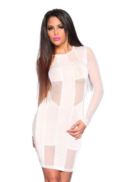 Cream Long Sleeve Party Dress (UK 8)