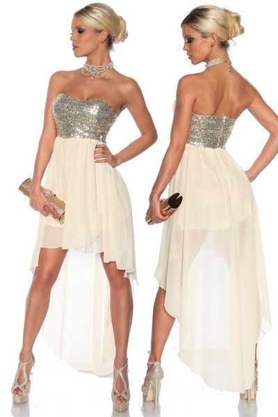 Cream Sleeveless Long Dress with Sequin Bust (UK 8 / 10)