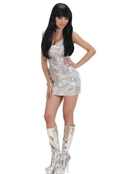 Disco Fever Silver Sequin Mini Dress (UK 14 - 16)