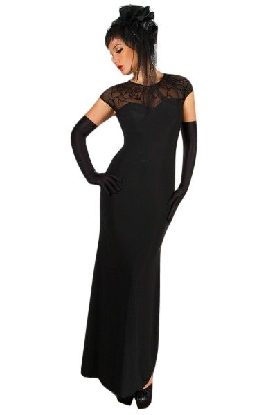 Elegant Long Black Dress with Lace Back and Shoulder (UK 12 / 14)