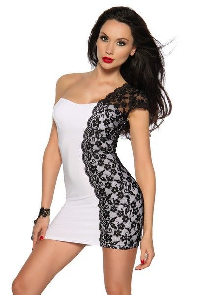 Elegant White with Black Lace Clubwear Mini Dress (UK 6)