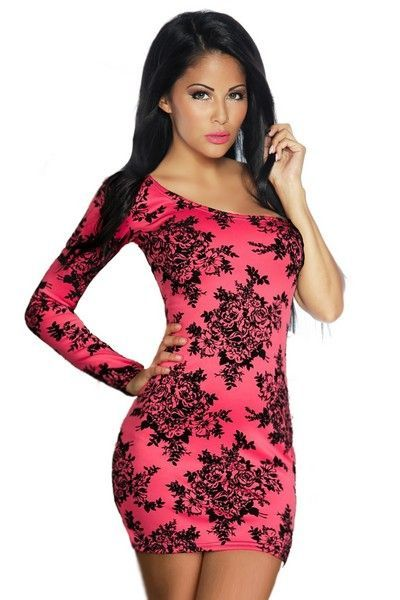 Floral Print Pink and Black Mini Dress (UK 8 - 12)