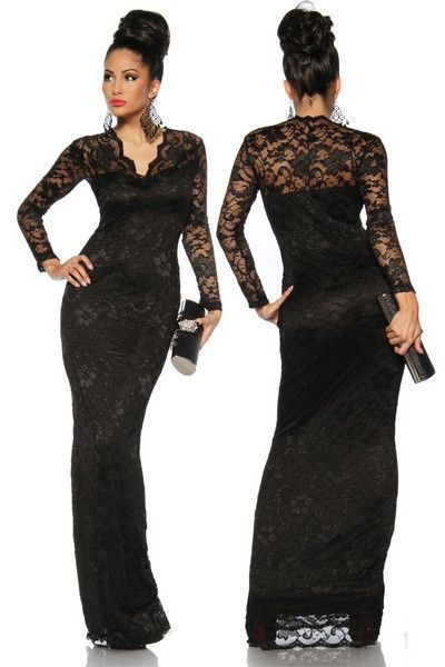 Full Length Black Lace Evening Dress (UK 8 - 12)