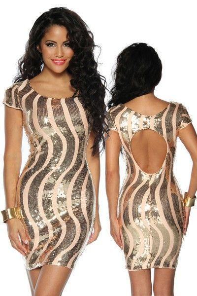 Gold Wavy Sequinned Clubwear Mini Dress (UK 8 - 12)