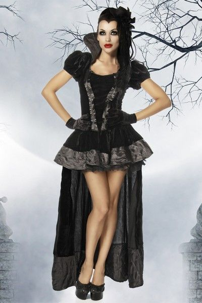 Gothic Velvet Vampire Halloween Fancy Dress Costume (UK 10 - 12)