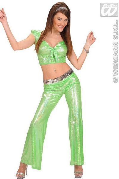 Green Sequin Fancy Dress Disco Trousers (UK 10 - 12)