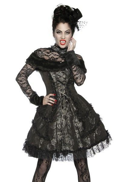 Grey Gothic Vampire Halloween Fancy Dress Costume (UK 8)