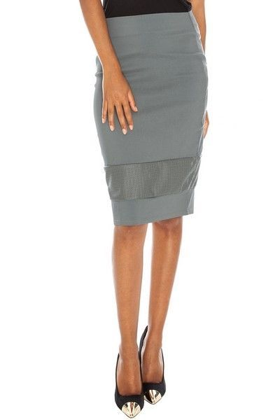 Grey Perforated PU Insert Pencil Skirt (UK 8)