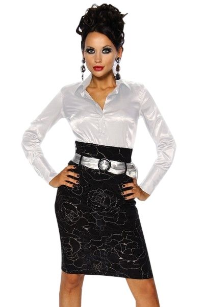High Waisted Silver Rose Print Skirt & Belt (UK 12 / 14)