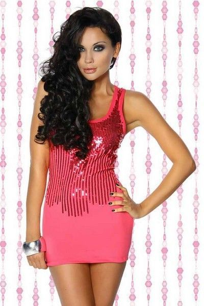 Hot Pink Sequin Clubwear Mini Dress (UK 8 - 10)